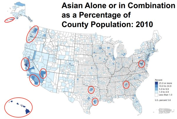Asian Americans as a proportion of county population in 2010 © U.S. Census Bureau