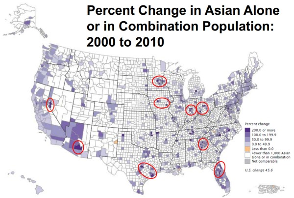 Growth of Asian American population by county population in 2010 © U.S. Census Bureau