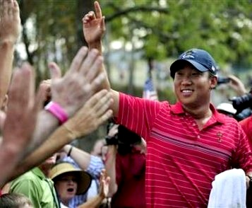 Anthony Kim celebrates his win over Sergio Garcia at the Ryder Cup © John Sommers II/Reuters