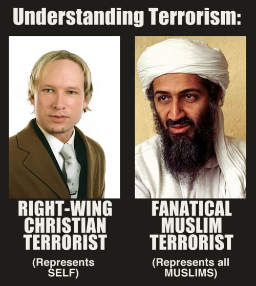 Difference between a Christian and Muslim terrorist