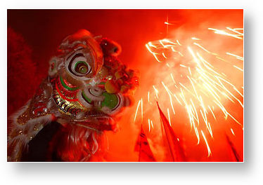 Chinese dragon and firecracker