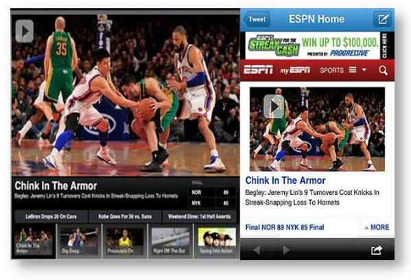'Chink in the Armor' headline on ESPN mobile website