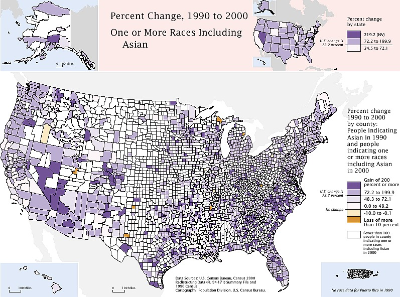 Asian American Population Growth By County 2000 C U S Census Bureau