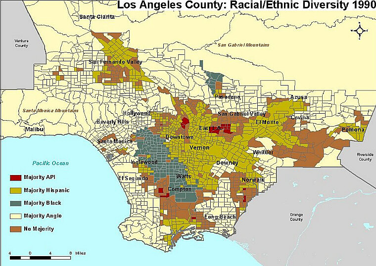 Ethnic Map Of Los Angeles Indiana Map