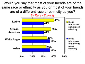 Race/ethnicity of friends by respondent's racial identity
