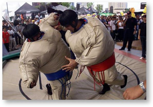 Sumo wrestler costumes in use © Stanley Chou/Getty Images