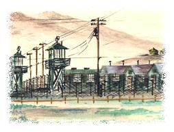 George Tamura watercolor painting of Tule Lake prison camp © George Tamura