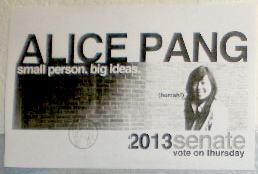 Original campaign poster for Alice Pang